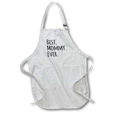 3dRose Best Mommy Ever - Gifts for moms - Mother nicknames - Good for Mothers day - black text, Full Length Apron, 22 by 30-inch, White, With Pockets