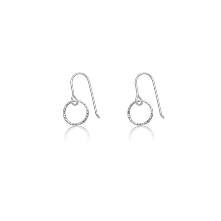 Sterling Silver Hammered Circle Earrings - Solid Sterling Silver Rhodium Plated Hammered Open Circle Dangle Earrings