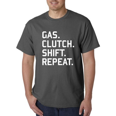 Trendy USA 864 - Unisex T-Shirt Gas Clutch Shift Repeat Car Lifestyle Small Charcoal