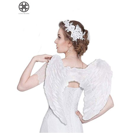 Halloween Fallen Angel Wings (Luxtrada Angel Devil Feather Wings for Kids Halloween Costume Feather Angel Wing for Girls Women Adult (White,Kid Size)