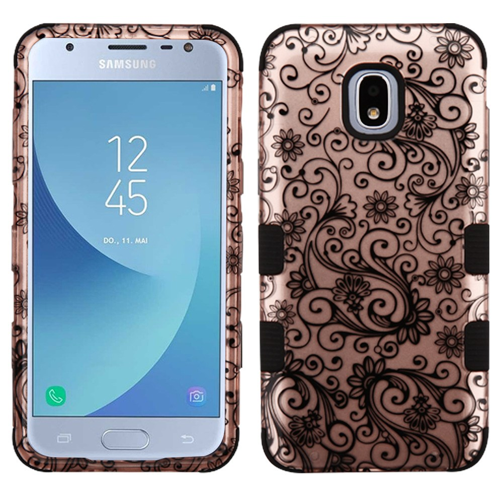 TUFF Hybrid Series Phone Protector Cover Case and Atom Cloth for Samsung Galaxy Express Prime 3 (AT&T) - 2D Pink Floral