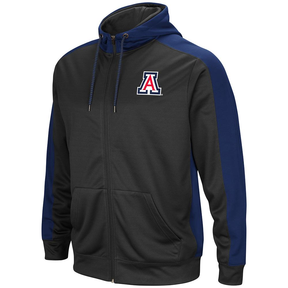 Mens NCAA Arizona Wildcats Full-zip Hoodie (Charcoal) by Colosseum