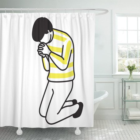 Pknmt Full Length Character Of Man Kneeling Down Holding Hands Polyester Shower Curtain 60x72 Inches
