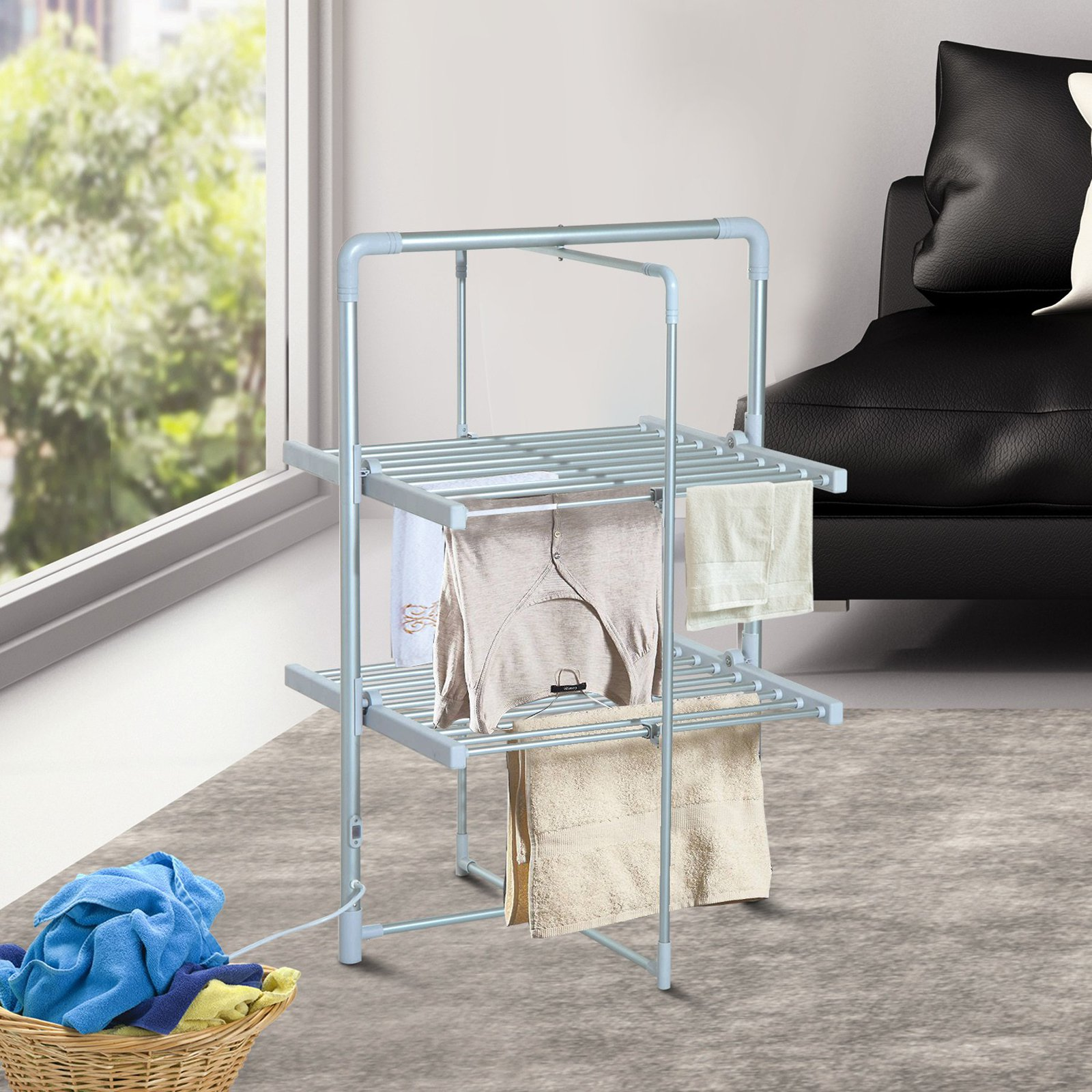 HomCom Folding 2 Tier Electric Clothes Drying Rack