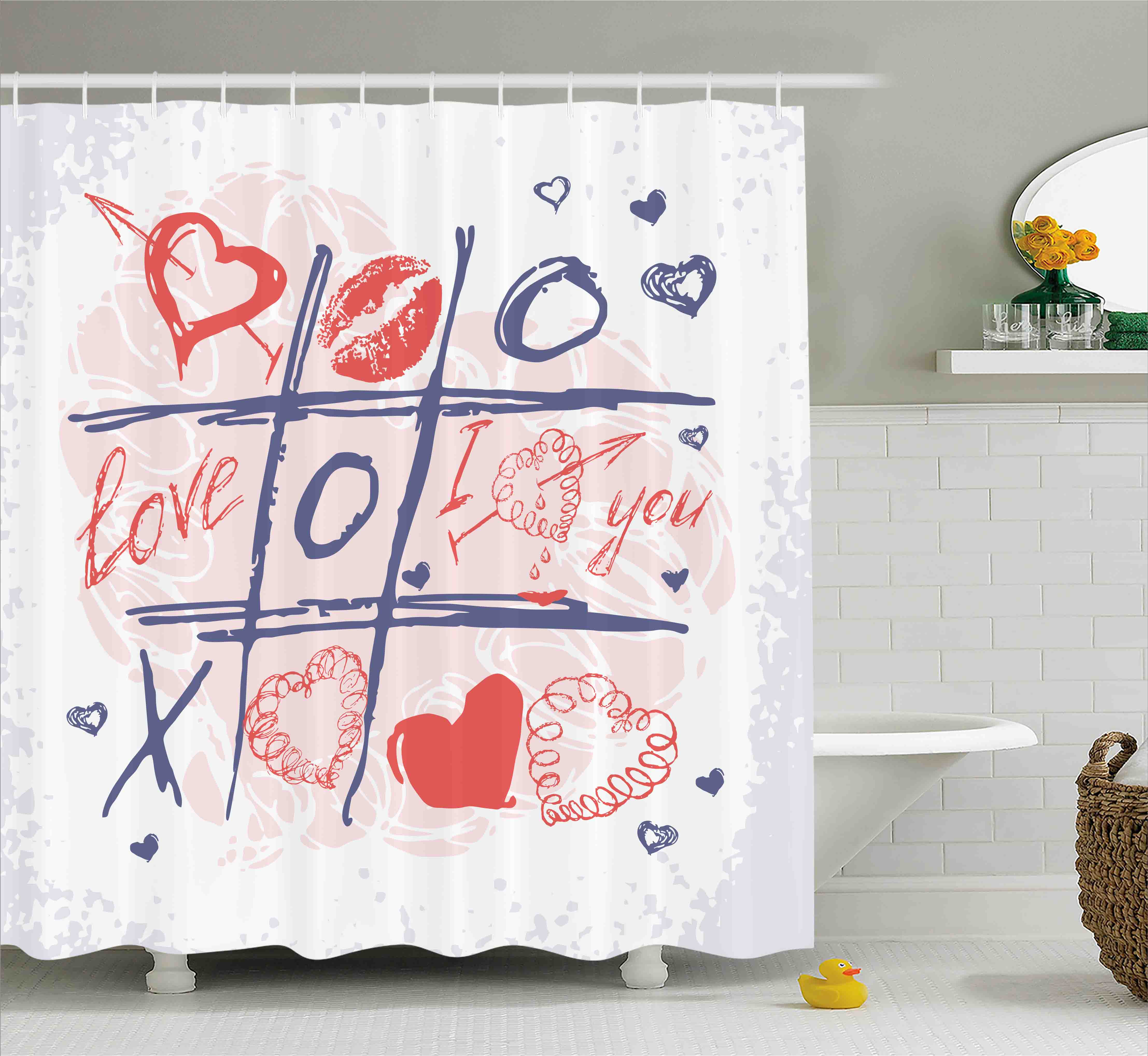 Valentines Day Decor Shower Curtain, Xoxo Game with Lips Sketchy Circles Hearts Romantic Love Theme, Fabric Bathroom Set with Hooks, 69W X 70L Inches, Blue Red and White, by Ambesonne