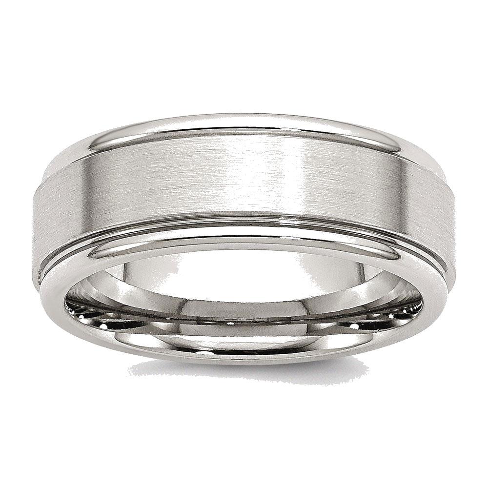 Men's Stainless Steel Ridged Edge Brushed and Polished Wedding Band Ring