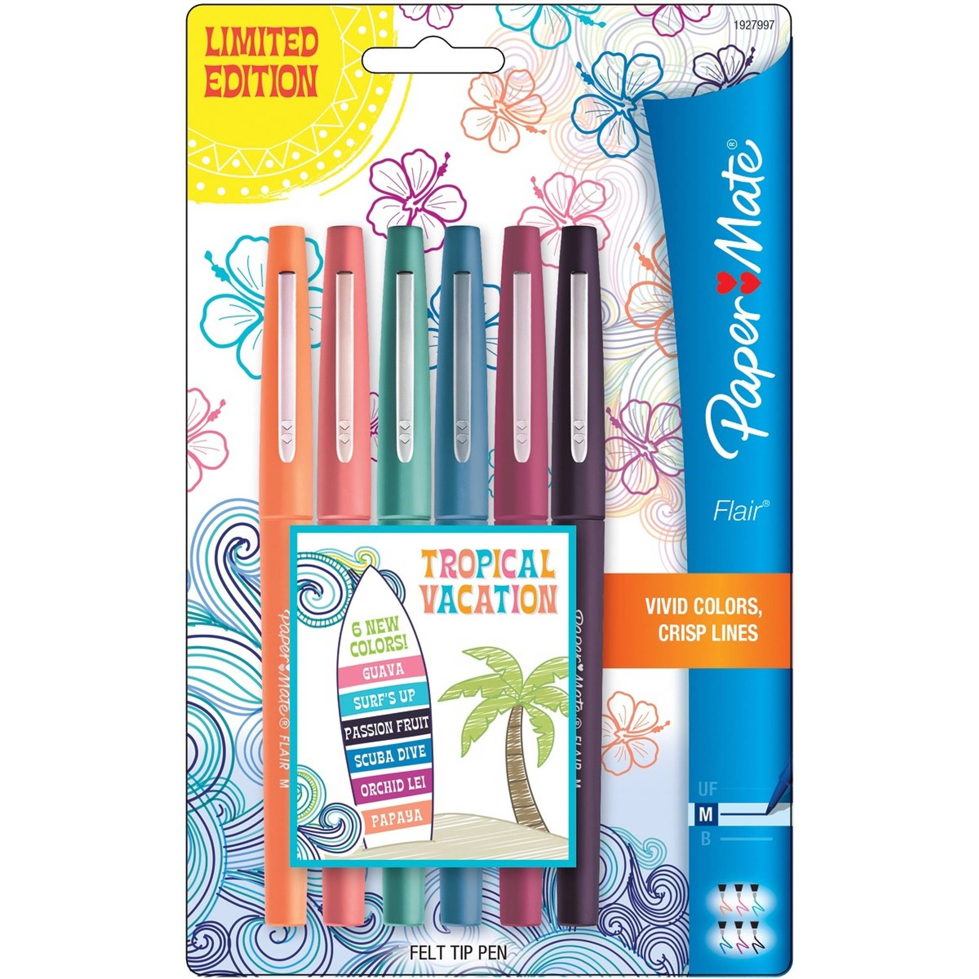 Paper Mate Flair Medium Felt Tip Pens, 6pk, Tropical Vacation