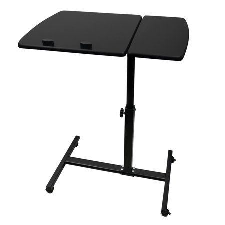 Evelots Multi Purpose Hospital Overbed Table W Wheels Adjule Tilt Top Black