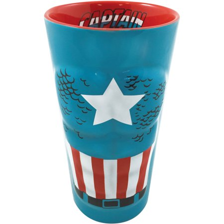 ICUP Marvel Captain America Character Chest with Scripted Red Interior Molded Ceramic Pint