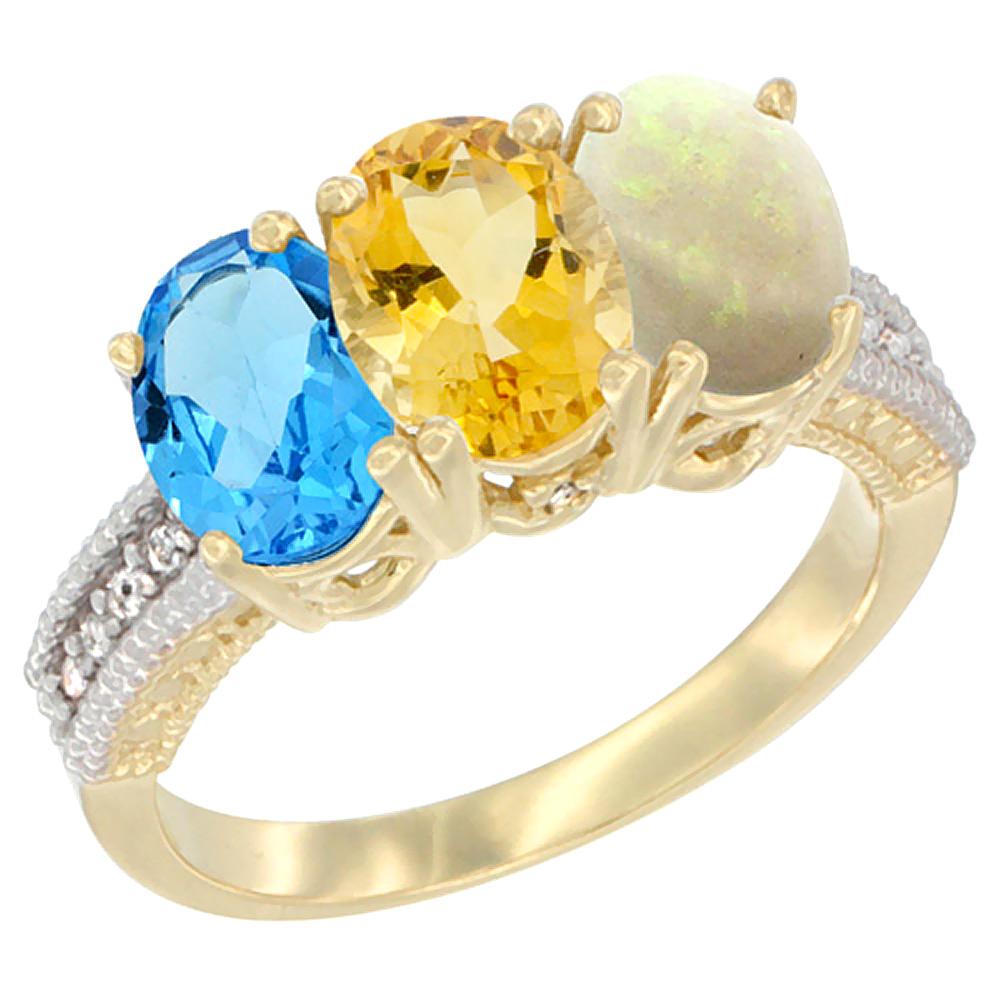 10K Yellow Gold Diamond Natural Swiss Blue Topaz, Citrine & Opal Ring 3-Stone Oval 7x5 mm, sizes 5 10 by WorldJewels