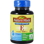 Vit E 1000 IU DI-Alpha - 60 softgels,()Vitamin E is beneficial for preventing the oxidation of fat, such as LDL (or bad cholesterol), to help.., By Nature -