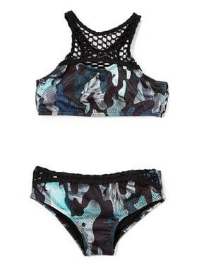 8b4fee60 Product Image Azul Girls Green Black G. I. Jane Bikini 2 Pc Swimsuit
