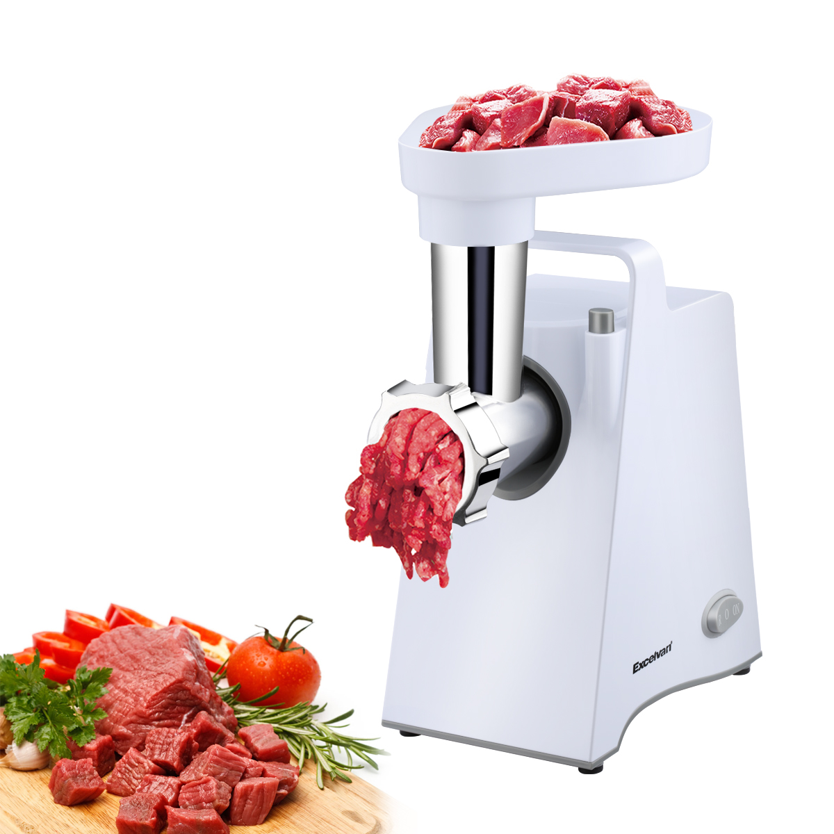 Excelvan Multifunctional Electric Meat Grinder Mincer 600W Stainless Steel Cutting Blade, 3 Grinding Plates, Kubbe & Sausage Stuff Maker and Pusher Attachments, Home Kitchen Tool (White)