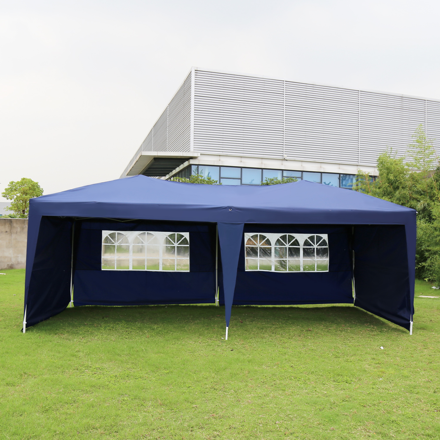Kinbor 10'x20' Foldable Portable Pop Up Canopy Wedding Party Tent Heavy Duty Outdoor Gazebo Shelter W/4 sides Walls with Carry Bag Blue