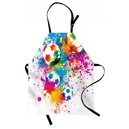 Soccer Apron Colored Splashes All over Soccer Balls Score World Cup Championship Athletic Artful, Unisex Kitchen Bib Apron with Adjustable Neck for Cooking Baking Gardening, Multicolor, by Ambesonne (Halloween Baking Championship)