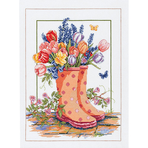 "Spring Floral Rainboots Counted Cross Stitch Kit, 12"" x 16"", 14-Count"