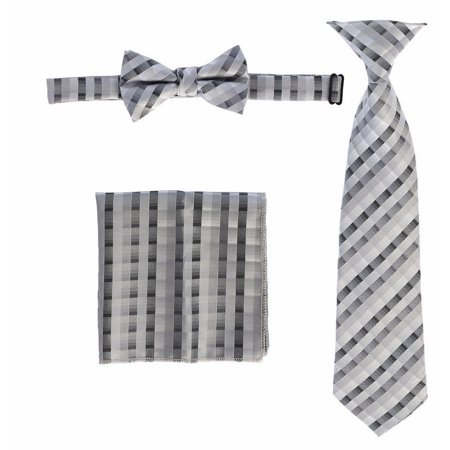 Boys Grey Plaid Striped Tie Bow Tie Pocket Square 3 Pc Accessory