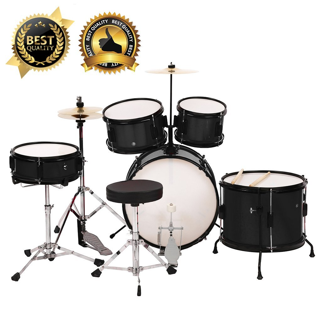 5 Piece Complete Junior Drum Set Cymbals Kids Drum Set Kit with Stool Sticks by