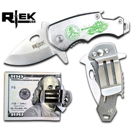 RTek USA Mini Tactical Money Clip Bottle Opener Spring Assisted Opening Knife 7 Variations Army, Navy (Classic Money Clip)
