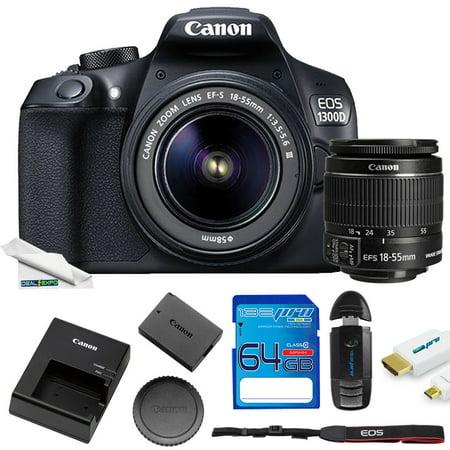 Canon EOS Rebel 1300D/T6 18MP DSLR Camera + 18-55mm Lens + 64GB Expo Starter Kit Canon Starter Kit Camcorder