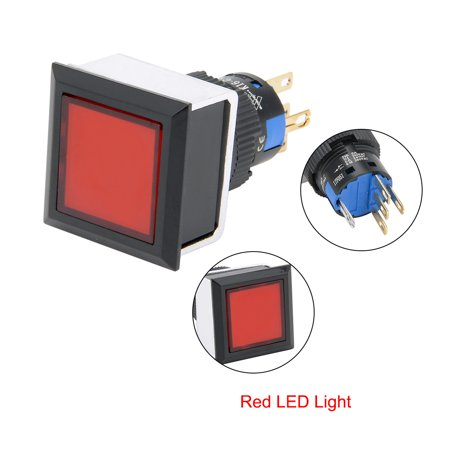 2pcs Momentary Push Button Switch 16mm Mounting Dia SPDT Square w 24V Red LED - image 6 of 7
