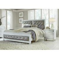 High Gloss White Finish Queen Size Bedroom Set 3 Pcs MACKENZIE Global USA