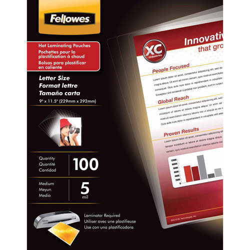 Fellowes Laminating Pouches - Letter, ImageLast, 5 mil, 100 pack