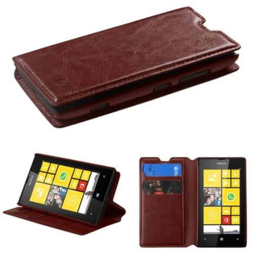 Insten Brown MyJacket Wallet Case (with Tray & Package) For NOKIA Lumia 520