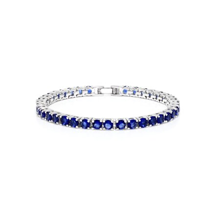 "12.00 Ct Round Cut Blue Simulated Sapphire 7"" Tennis Bracelet 7 Inch"