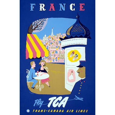 France Fly Tca Trans Canada Air Lines Canvas Art     24 X 36
