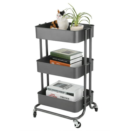 Classics 3 Tiers Mesh Rolling Storage Cart Adjustable Storage Rack Trolley Organization Shelving Cart Home Kitchen Organize with Wheels Iron Grey (Mesh Drop Racks)