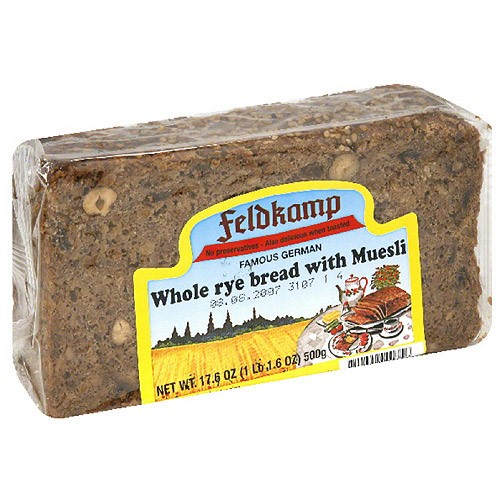 Feldkamp Whole Rye Bread with Muesli, 16.75 oz (Pack of 12)