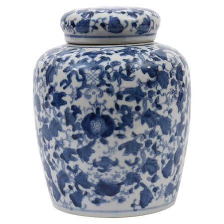 3R Studios Blue and White Ginger Jar with Lid