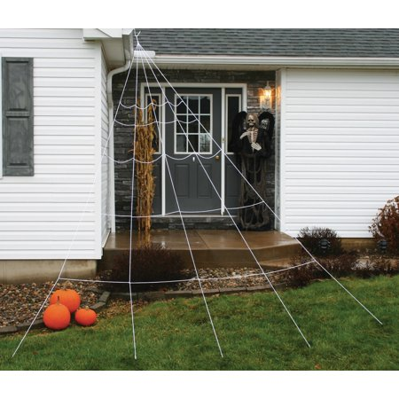 Fun World Giant Halloween Super Yard Spider Web 7pc Outdoor Prop, 12 ft, White - Halloween Yard Props