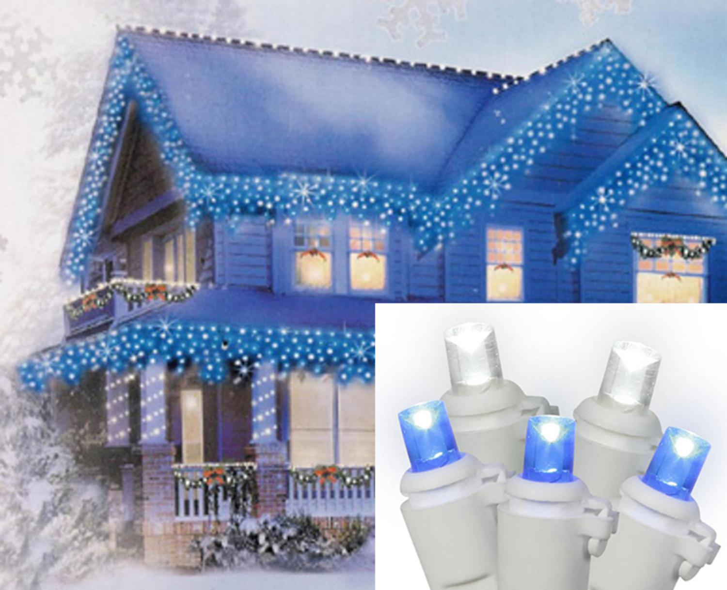 Set of 10 Blue and White Color Changing LED Icicle Christmas ...