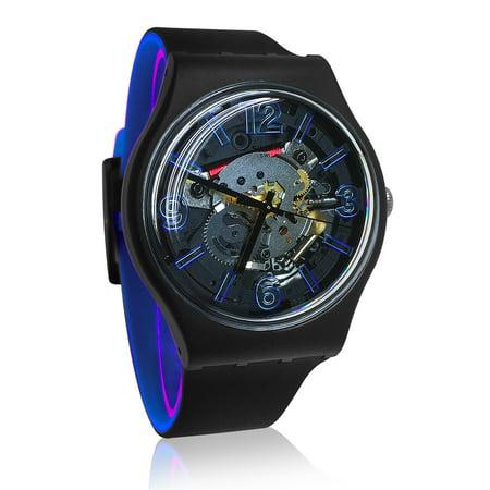 Swatch SUOB165 Blueboost Blue Black Analog Dial Silicone Band Watch New Analog Glitz Black Dial