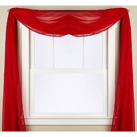 - 1 PC SOLID SCARF VALANCE SOFT SHEER VOILE WINDOW PANEL CURTAIN 216