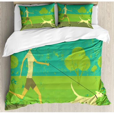 Dog Queen Size Duvet Cover Set, Woman Figure Running with Her House Pet on Grunge Worn Out Background, Decorative 3 Piece Bedding Set with 2 Pillow Shams, Green Taupe Pale