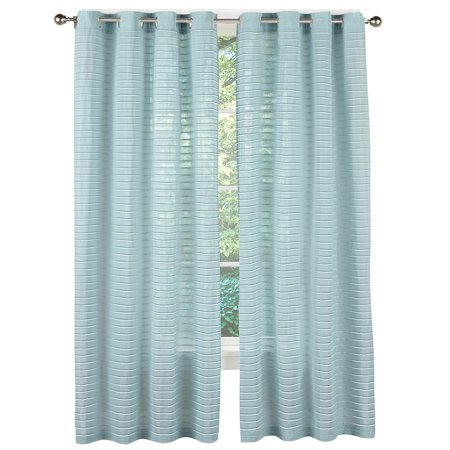 Linen Pleated Grommet Top Privacy Window Curtain Panel, 52