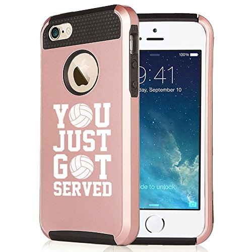 For Apple iPhone 5 5s Rose Gold Shockproof Impact Hard Soft Case Cover You Just Got served Volleyball (Rose Gold-Black)