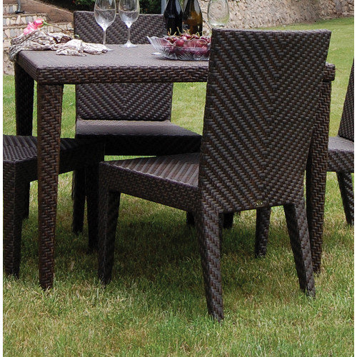 Hospitality Rattan Soho 40 in. Square Woven Patio Dining Table - Rehau Fiber Java Brown