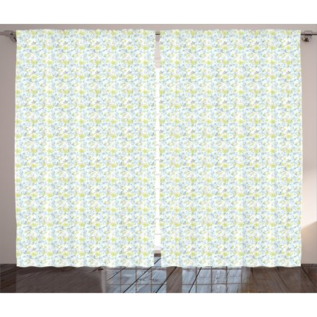 Green Floral Vine - Floral Curtains 2 Panels Set, Flowers and Green Leaves on Ivy Vines Spiral Branches Petals Pattern, Window Drapes for Living Room Bedroom, 108W X 90L Inches, White Grey Yellow Green, by Ambesonne