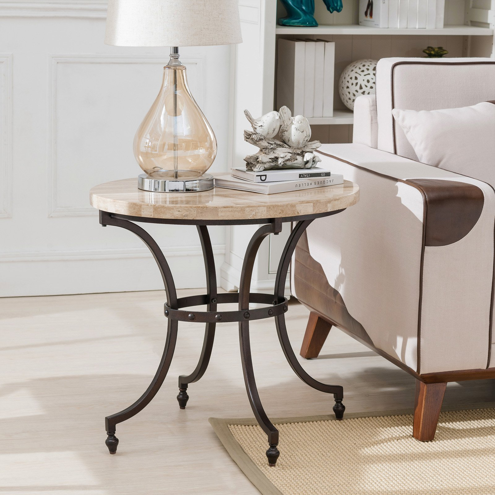 Leick Home Oval Travertine Stone Top Side Table with Rubbed Bronze Metal Base
