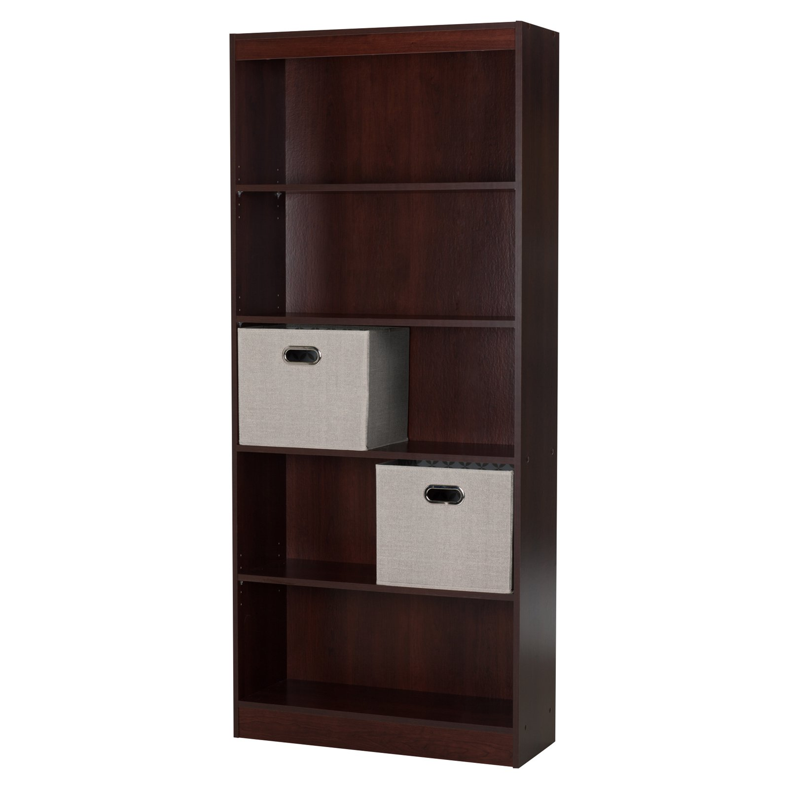 Axess 5 Shelf Bookcase with 2 Fabric Storage Baskets by South Shore by South Shore