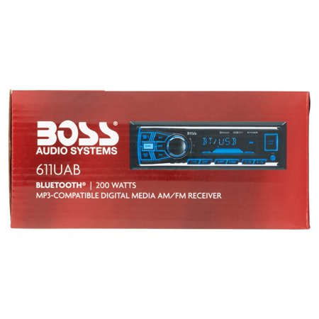 Boss 611UAB Boss Audio 611UAB Single-DIN MECH-LESS Receiver, Bluetooth - In-dash - MP3, WMA - AM, FM - 12, 18 x AM, FM Preset - SD - Bluetooth - USB - Auxiliary Input