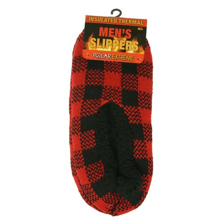 Polar Extreme Heat Men's Insulated Thermal Fleece Lined Slippers Red Checkered ()