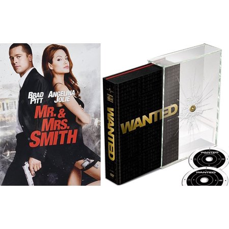 Wanted Collectors Edition Dvd 2 Pack   Mr    Mrs  Smith Action Movie Set Angelina Jolie