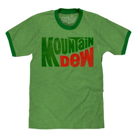 Tee Luv Mountain Dew T-Shirt - Vintage Mt Dew Ringer Tee Shirt (Small)