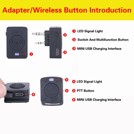 fashionhome Walkie Talkie Wireless Headset Bluetooth Headsets Two Way Radio Headphone Earpiece Replacement for Baofeng 888S UV5R - image 5 of 7