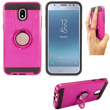 buy online a22c0 49bc5 Phone Case for Tracfone Samsung 7 Crown S767VL , J7 Pro J730 / Samsung  Galaxy J7 Top Textured Dual-Layered Cover Ring-Stand (Ring-Stand Pink-Black  ...